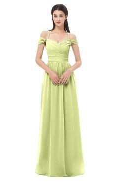 ColsBM Amirah Lime Green Bridesmaid Dresses Halter Zip up Pleated Floor Length Elegant Short Sleeve