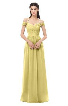 ColsBM Amirah Misted Yellow Bridesmaid Dresses Halter Zip up Pleated Floor Length Elegant Short Sleeve