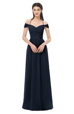 ColsBM Amirah Navy Blue Bridesmaid Dresses Halter Zip up Pleated Floor Length Elegant Short Sleeve