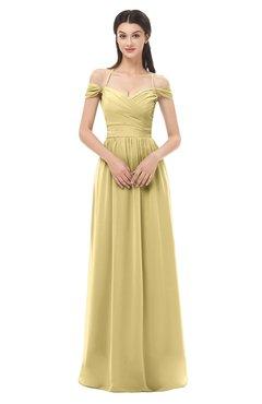 ColsBM Amirah New Wheat Bridesmaid Dresses Halter Zip up Pleated Floor Length Elegant Short Sleeve