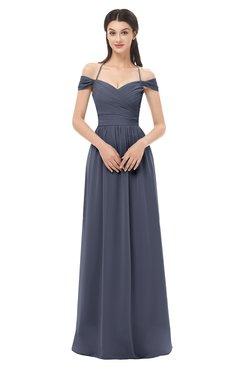 ColsBM Amirah Nightshadow Blue Bridesmaid Dresses Halter Zip up Pleated Floor Length Elegant Short Sleeve