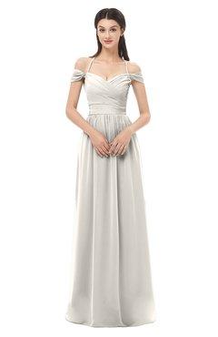 ColsBM Amirah Off White Bridesmaid Dresses Halter Zip up Pleated Floor Length Elegant Short Sleeve