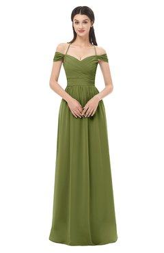 ColsBM Amirah Olive Green Bridesmaid Dresses Halter Zip up Pleated Floor Length Elegant Short Sleeve