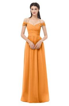 ColsBM Amirah Orange Bridesmaid Dresses Halter Zip up Pleated Floor Length Elegant Short Sleeve