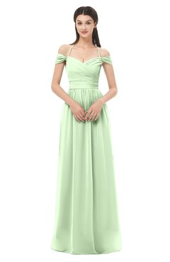 ColsBM Amirah Pale Green Bridesmaid Dresses Halter Zip up Pleated Floor Length Elegant Short Sleeve