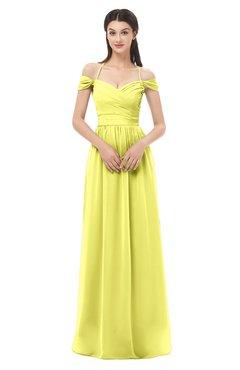 ColsBM Amirah Pale Yellow Bridesmaid Dresses Halter Zip up Pleated Floor Length Elegant Short Sleeve