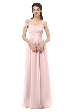 ColsBM Amirah Pastel Pink Bridesmaid Dresses Halter Zip up Pleated Floor Length Elegant Short Sleeve