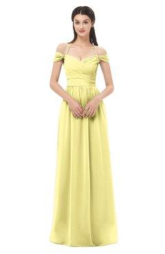 ColsBM Amirah Pastel Yellow Bridesmaid Dresses Halter Zip up Pleated Floor Length Elegant Short Sleeve