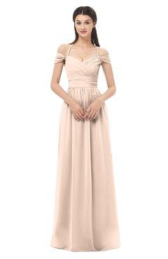 ColsBM Amirah Peach Puree Bridesmaid Dresses Halter Zip up Pleated Floor Length Elegant Short Sleeve