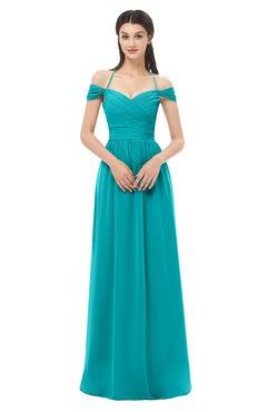 ColsBM Amirah Peacock Blue Bridesmaid Dresses Halter Zip up Pleated Floor Length Elegant Short Sleeve