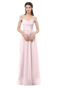 ColsBM Amirah Petal Pink Bridesmaid Dresses Halter Zip up Pleated Floor Length Elegant Short Sleeve