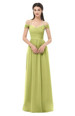 ColsBM Amirah Pistachio Bridesmaid Dresses Halter Zip up Pleated Floor Length Elegant Short Sleeve
