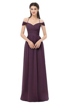 ColsBM Amirah Plum Bridesmaid Dresses Halter Zip up Pleated Floor Length Elegant Short Sleeve
