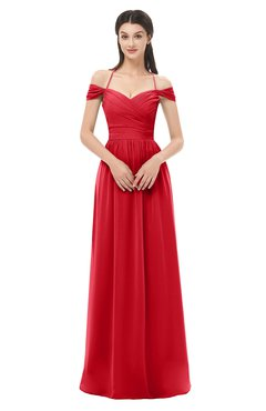 ColsBM Amirah Red Bridesmaid Dresses Halter Zip up Pleated Floor Length Elegant Short Sleeve