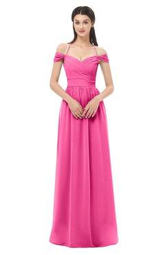 ColsBM Amirah Rose Pink Bridesmaid Dresses Halter Zip up Pleated Floor Length Elegant Short Sleeve