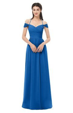 ColsBM Amirah Royal Blue Bridesmaid Dresses Halter Zip up Pleated Floor Length Elegant Short Sleeve