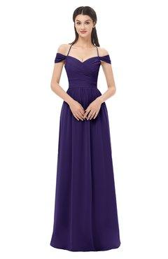 ColsBM Amirah Royal Purple Bridesmaid Dresses Halter Zip up Pleated Floor Length Elegant Short Sleeve