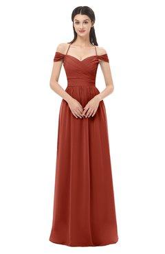 ColsBM Amirah Rust Bridesmaid Dresses Halter Zip up Pleated Floor Length Elegant Short Sleeve