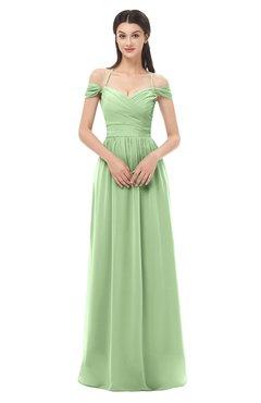 ColsBM Amirah Sage Green Bridesmaid Dresses Halter Zip up Pleated Floor Length Elegant Short Sleeve