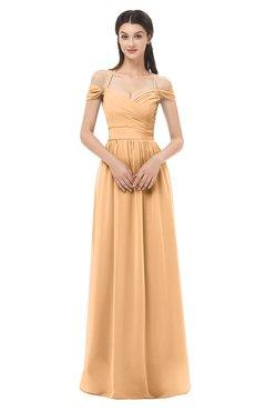 ColsBM Amirah Salmon Buff Bridesmaid Dresses Halter Zip up Pleated Floor Length Elegant Short Sleeve