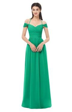 ColsBM Amirah Sea Green Bridesmaid Dresses Halter Zip up Pleated Floor Length Elegant Short Sleeve