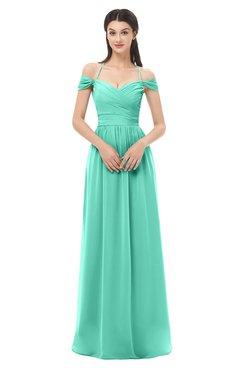 ColsBM Amirah Seafoam Green Bridesmaid Dresses Halter Zip up Pleated Floor Length Elegant Short Sleeve