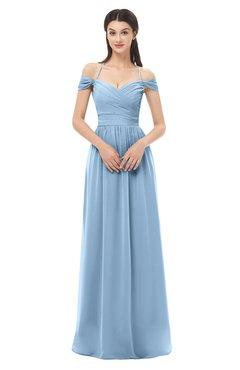 ColsBM Amirah Sky Blue Bridesmaid Dresses Halter Zip up Pleated Floor Length Elegant Short Sleeve