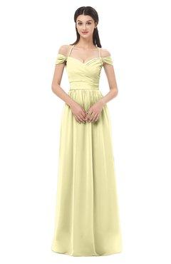 ColsBM Amirah Soft Yellow Bridesmaid Dresses Halter Zip up Pleated Floor Length Elegant Short Sleeve