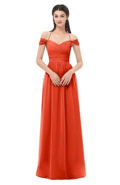 ColsBM Amirah Tangerine Tango Bridesmaid Dresses Halter Zip up Pleated Floor Length Elegant Short Sleeve