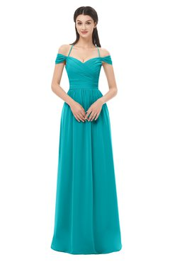 ColsBM Amirah Teal Bridesmaid Dresses Halter Zip up Pleated Floor Length Elegant Short Sleeve