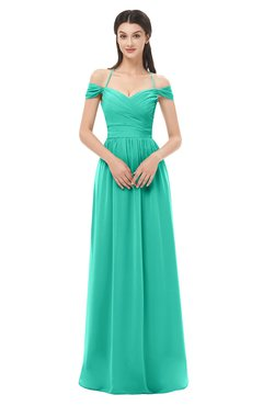 ColsBM Amirah Viridian Green Bridesmaid Dresses Halter Zip up Pleated Floor Length Elegant Short Sleeve