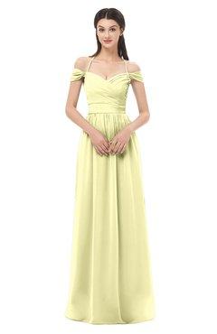 ColsBM Amirah Wax Yellow Bridesmaid Dresses Halter Zip up Pleated Floor Length Elegant Short Sleeve