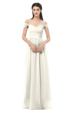 ColsBM Amirah Whisper White Bridesmaid Dresses Halter Zip up Pleated Floor Length Elegant Short Sleeve