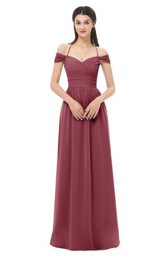 ColsBM Amirah Wine Bridesmaid Dresses Halter Zip up Pleated Floor Length Elegant Short Sleeve