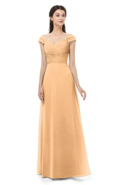 ColsBM Aspen Apricot Bridesmaid Dresses Off The Shoulder Elegant Short Sleeve Floor Length A-line Ruching