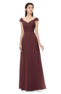 ColsBM Aspen Burgundy Bridesmaid Dresses Off The Shoulder Elegant Short Sleeve Floor Length A-line Ruching