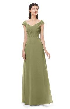 ColsBM Aspen Cedar Bridesmaid Dresses Off The Shoulder Elegant Short Sleeve Floor Length A-line Ruching