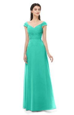 ColsBM Aspen Ceramic Bridesmaid Dresses Off The Shoulder Elegant Short Sleeve Floor Length A-line Ruching
