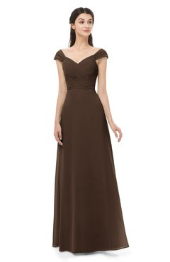 ColsBM Aspen Copper Bridesmaid Dresses Off The Shoulder Elegant Short Sleeve Floor Length A-line Ruching