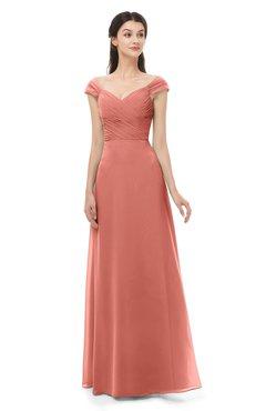ColsBM Aspen Crabapple Bridesmaid Dresses Off The Shoulder Elegant Short Sleeve Floor Length A-line Ruching