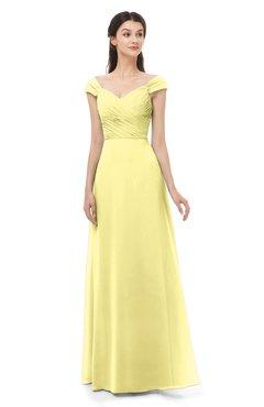 ColsBM Aspen Daffodil Bridesmaid Dresses Off The Shoulder Elegant Short Sleeve Floor Length A-line Ruching