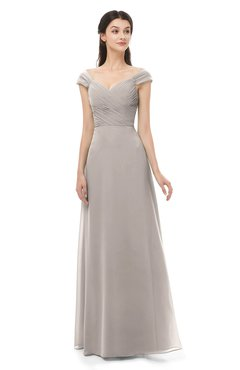 ColsBM Aspen Fawn Bridesmaid Dresses Off The Shoulder Elegant Short Sleeve Floor Length A-line Ruching