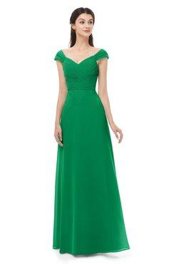 ColsBM Aspen Green Bridesmaid Dresses Off The Shoulder Elegant Short Sleeve Floor Length A-line Ruching