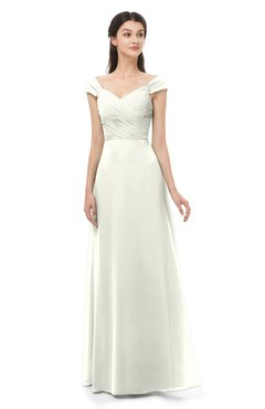 ColsBM Aspen Ivory Bridesmaid Dresses Off The Shoulder Elegant Short Sleeve Floor Length A-line Ruching