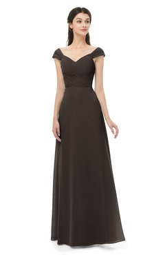 ColsBM Aspen Java Bridesmaid Dresses Off The Shoulder Elegant Short Sleeve Floor Length A-line Ruching