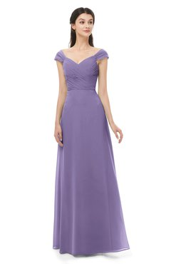 ColsBM Aspen Lilac Bridesmaid Dresses Off The Shoulder Elegant Short Sleeve Floor Length A-line Ruching