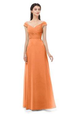 ColsBM Aspen Mango Bridesmaid Dresses Off The Shoulder Elegant Short Sleeve Floor Length A-line Ruching