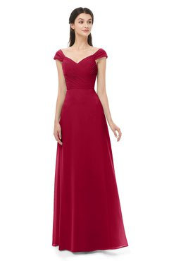 ColsBM Aspen Maroon Bridesmaid Dresses Off The Shoulder Elegant Short Sleeve Floor Length A-line Ruching