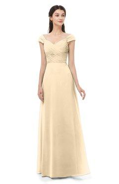 ColsBM Aspen Marzipan Bridesmaid Dresses Off The Shoulder Elegant Short Sleeve Floor Length A-line Ruching