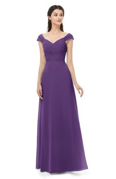 ColsBM Aspen Pansy Bridesmaid Dresses Off The Shoulder Elegant Short Sleeve Floor Length A-line Ruching